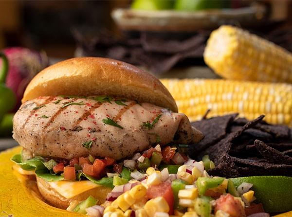 Fresca Grilled Chicken Sandwich with Tortilla Chips & Pineapple Corn Salsa